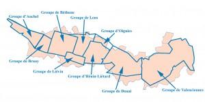 Les neufs groupes de production du Bassin minier du Nord-Pas de Calais en 1946